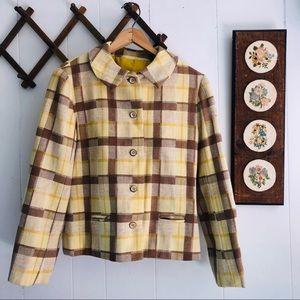 Early 1960's Wool Plaid Boxy Blazer